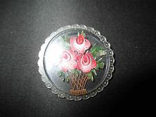 ancienne broche bijoux en plexiglas sculpté et peint début XX ème