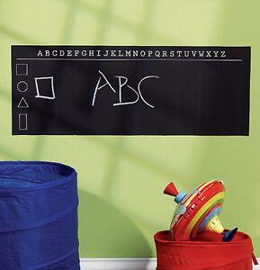 WALLIES ALPHABET CHALKBOARD wall sticker decal chalk ABC letters shapes black