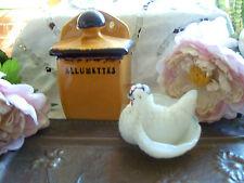 salière pate verre ancienne+porte allumettes céramiques