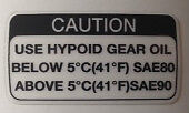 KAWASAKI Z1300 KZ1300 HYPOID GEAR OIL WARNING DECAL