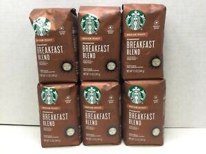 Starbucks Breakfast Blend, Whole Bean Coffee, Medium Roast, CASE OF 6, APR/2021