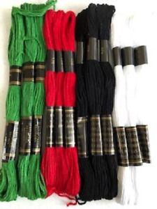96 metres CHRISTMAS BLACK, WHITE, RED,GREEN Embroidery Thread Skien 100% COTTON