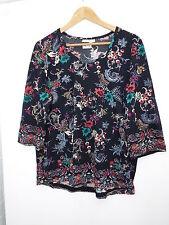 Brand New Ulla Popken Navy Printed 3/4 Sleeve Tunic Size 18