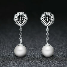 Vingate Style 925 Sterling Silver White Freshwater Pearl Stud Dangle Earrings