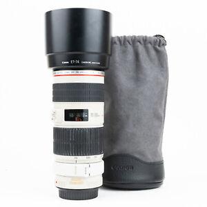 Canon EF 70-200mm F4 L IS USM Lens + Hood & Tripod Collar & Caps - VGC