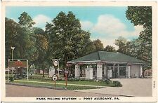 Park Filling Station in Port Allegany PA Postcard Tydol Gas Pumps