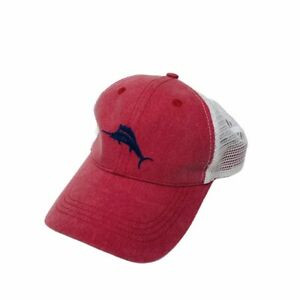Tommy Bahama Trucker Style Adjustable Hat Cap Red White Mesh