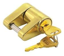 Brass Trailer Boat RV Coupler Receiver Lock Hitch Lock 2 Keys