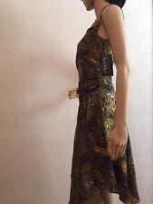 Nicole Miller Sleeveless Gold/Purple/Green/Mustard/Blue Silk Dress Size 0