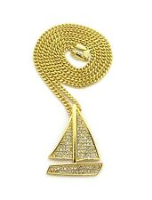 ICED OUT MINI LIL BOAT CUBAN LINK GOLD CHAIN PENDANT NECKLACE LIL YACHTY