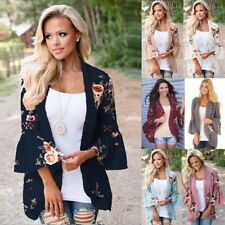 Womens Plus Size Holiday Lace Floral Kimono Cardigan Ladies Summer Top Blouse UK