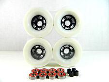 White Longboard Flywheels 90mm x 52mm 78a + ABEC 7 Bearing + Spacer