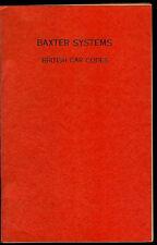 Rare Vintage 1971 Baxter Systems British Car Lock/Key Codes Manual Book