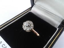 18 KT oro anello di diamanti Cluster. Taglia L. 3.1 GRAMMI. marchiato.