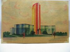 1933 CHICAGO WORLDS FAIR POSTCARD OWENS-ILLINOIS GLASS BLOCK BUILDING BIO UNUSED