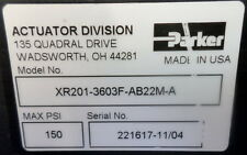 PARKER ROTARY ACTUATOR XR201-3603F-AB22M-A 150 PSI