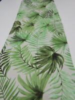 Decorative Table Runner Palm Fern Leaves Neutral 150cm x 35cm