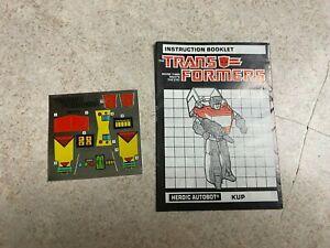 Vintage G1 Transformers Booklet Unused Decal Sticker Sheet 1986 Autobot KUP