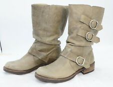 Matisse Moto-X Leather 3-Buckle Slouch Mid Calf Riding Boots Womens Sz 8.5