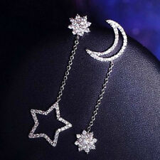 Long Drop Diamante Earrings Asymmetric Mismatched Dangle Moon Star Rhinestone