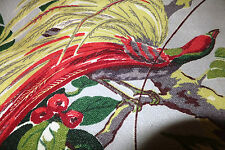 30's Barkcloth beautiful Tropical feathered Bird of paradise material 26w x 45l