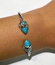14k White Gold Weave Genuine Turquoise Rope Open Design Cuff Bangle Bracelet
