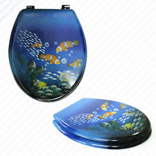 FISH Novelty Wooden Toilet Seat | Sturdy Metal Chrome Bottom Fixing Hinges