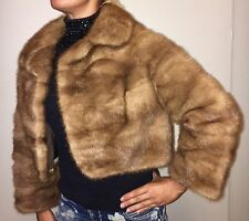 $8000 COSTA Real Brown Mink Fur Coat bolero Jacket S-M Made in Italy