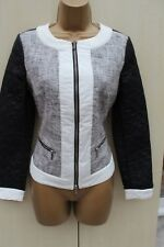 Karen Millen Black Colourblock Contrast Quilted Bomber Tweed Jacket SIZE 10