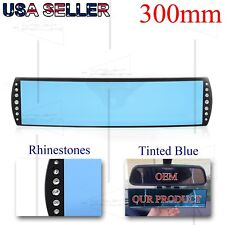 FOR JAPANESE CARS BLUE TINTED 275MM CONVEX INTERIOR REAR VIEW MIRROR RHINESTONES