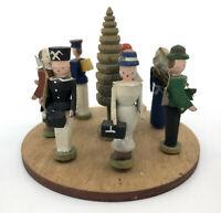 Erzgebirge GDR Wooden 7 Folk People Figurine w Tree for Pyramid Display Vintage