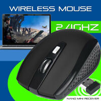 Wireless Cordless 2.4GHz Mouse USB Dongle Optical Scroll For PC Laptop MAC  BK v