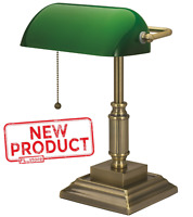 Desk Lamp Light W/ Green Glass Shade Electric Antique Brass Finish Bankers Style