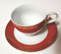 Mikasa Parchment Red Footed Cup and Saucer Set Red and Gold Holiday New