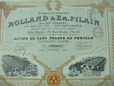 action automobiles rolland pilain 1911 100 francs 43 coupons