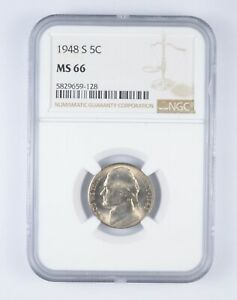 RARE - Graded MS66 1948-S Jefferson Nickel - Graded By NGC *815