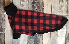 """Red Buffalo Plaid Greyhound Pajamas 30"""" Large Sighthound Fleece Pjs Coat Sweater"""