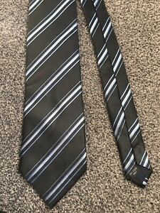 "Milano black blue striped pure silk classic smart tie 3.5"" wide 57"" long"