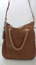 G.I.L.I Leather Soho Crossbody Bag w Zipper and Chain Detail Brown/Cognac NEW