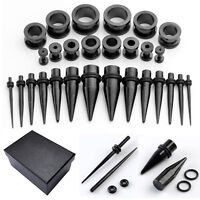 28PC Black Ear Taper Plugs Kit 12G-00G Stainless Steel Stretching Body Piercing