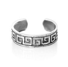 925 Sterling Silver Ring for Toe Little Finger Midi Stackable Maze Greek Key 00004000