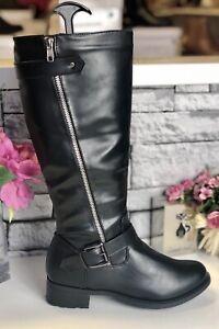 Ladies Black Under Knee Long Boots -Size UK 3 EU36 - Buckle & Zip Trim Biker