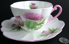 Shelley England Fine Bone China Teacup Cup Saucer THISTLE 13820