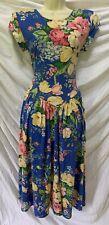 Vtg 80s Carol Anderson Blue Floral Dropped Waist Full Skirt Sun Dress 9/10 ~ M