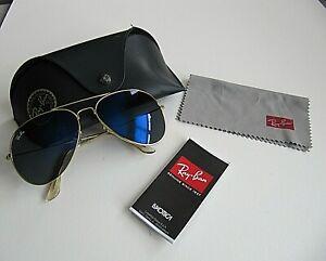Ray-Ban Aviator Sunglasses RB3026 60-17mm 135 Gold Frame & Blue  Lenses USA
