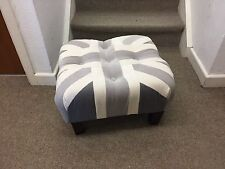 Shades of Grey Footstool / Pouffe /small Union Jack dark wood Feet British Made