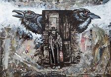 London noche Watchmen/Cuervos/Lámpara Antigua/pintura Original por hahonin A3