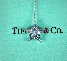 Platinum Tiffany & Co Light Blue Sapphire Round Diamond Pendant Chain Necklace