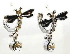 New Silver Tone Crystal Black Enamel Dragonfly Hoop Earrings in Gift Box