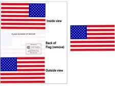 """USA American Flag Vinyl Window Sticker Decal    3""""x 5""""  MADE IN USA   LOT of 2"""